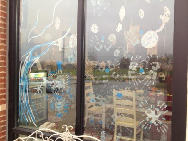 Winter windows. Handprint snowflakes.