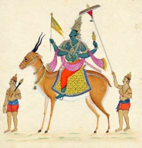 Vayu, the god of breath, typically rides a nimble gazelle