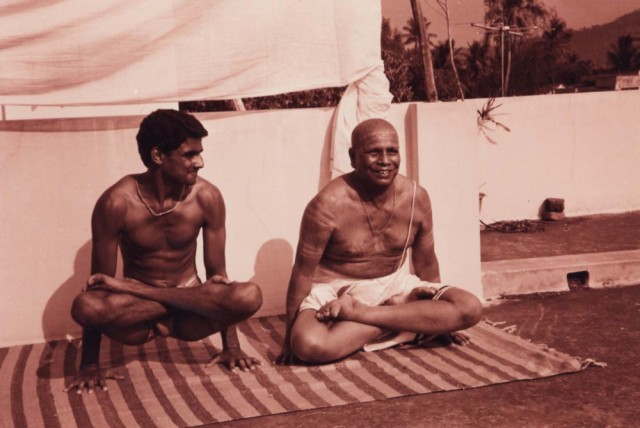 Your gaze matters! Grandson (Sharath) gazing fondly at grandfather and guru, Sri K Pattabhi Jois